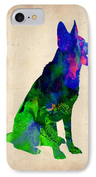 German Sheppard Watercolor IPhone Case by Naxart Studio