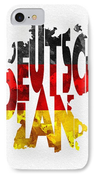 Germany Typographic Map Flag IPhone Case