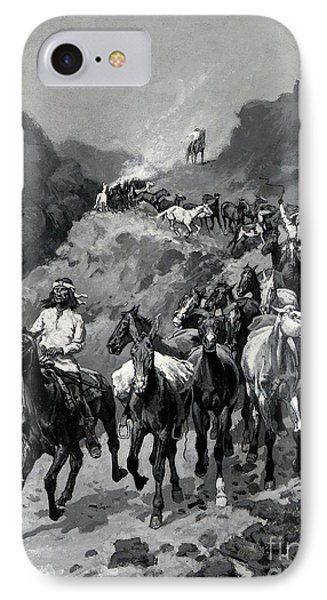 Geronimo And His Band Returning From A Raid Into Mexico IPhone Case by Frederic Remington