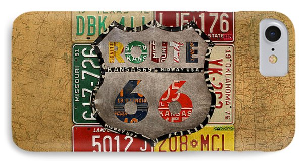 Get Your Kicks On Route 66 Vintage License Plate Art On Worn United States Highway Map IPhone Case by Design Turnpike