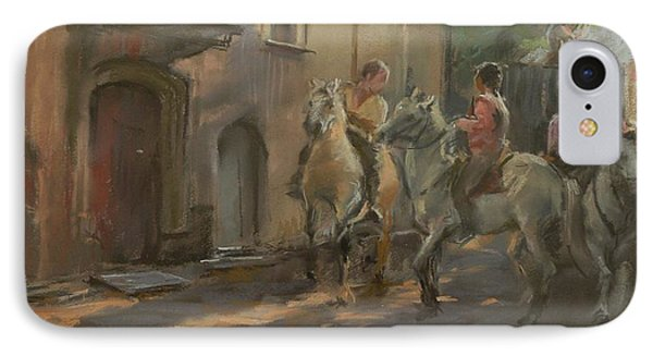 Getting Ready For The Bull Run, 2009 Pastel On Paper IPhone Case by Pat Maclaurin