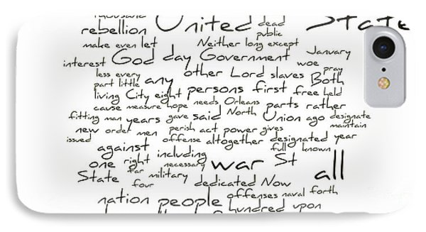 Gettysburg Address-emancipation Proclamation-second Inaugural Address-word Cloud Phone Case by David Bearden