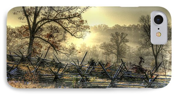IPhone Case featuring the photograph Gettysburg At Rest - Sunrise Over Northern Portion Of Little Round Top by Michael Mazaika