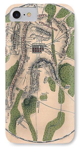 Gettysburg Battle Map 1863 - Civil War IPhone Case by Daniel Hagerman