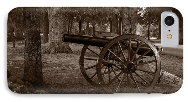 Gettysburg Cannon B W IPhone Case by Steve Gadomski