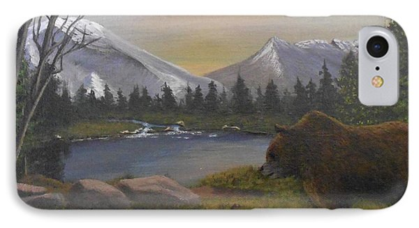 IPhone Case featuring the painting Ghost Bear-the Cascade Grizzly by Sheri Keith