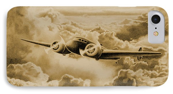 Ghost Flight- Amelia Earhart Sepia IPhone Case by Sarah Batalka