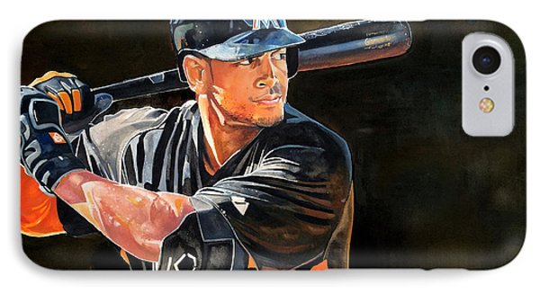 Giancarlo Stanton - Miami Marlins IPhone Case by Michael  Pattison