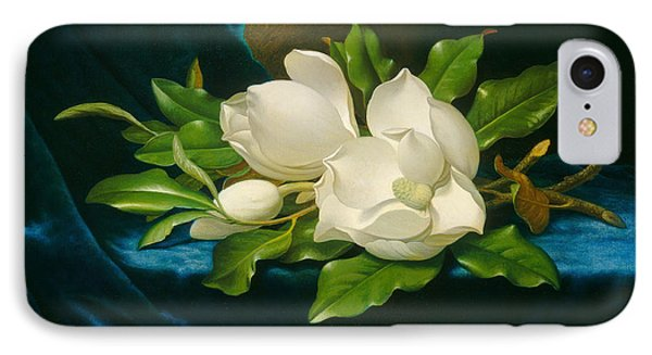 Giant Magnolias On A Blue Velvet Cloth IPhone Case