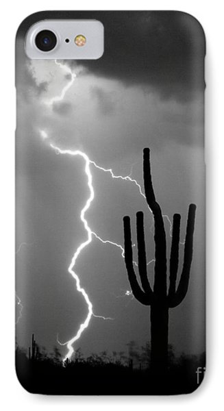 Giant Saguaro Cactus Lightning Strike Bw IPhone Case by James BO  Insogna