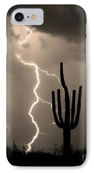 Giant Saguaro Cactus Lightning Strike Sepia  Phone Case by James BO  Insogna