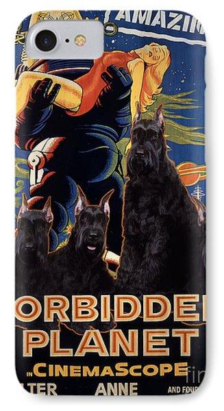Giant Schnauzer Art Canvas Print - Forbidden Planet Movie Poster IPhone Case by Sandra Sij