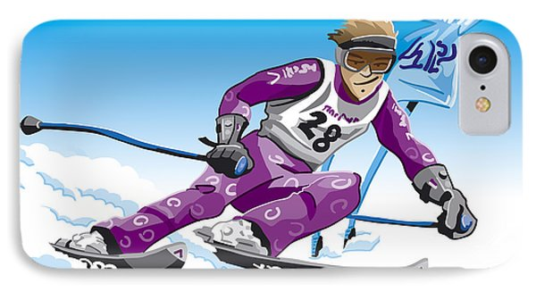 Giant Slalom Skier Winter Sport IPhone Case by Frank Ramspott