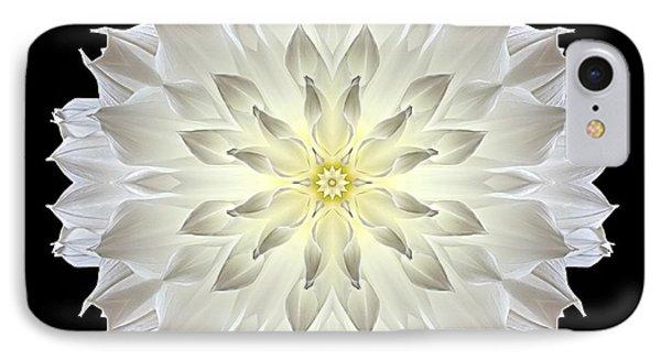 Giant White Dahlia Flower Mandala IPhone Case by David J Bookbinder