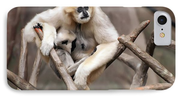 Gibbon Nursing Its Baby IPhone Case