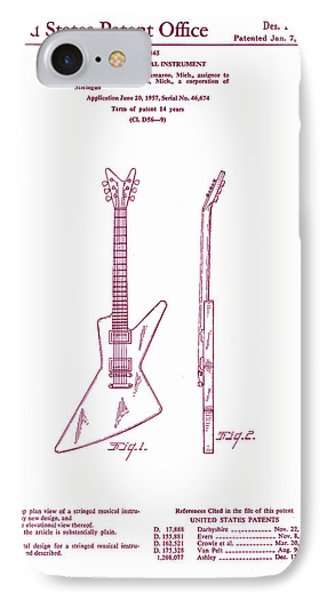 Gibson Explorer Guitar Patent IPhone Case by Georgia Fowler