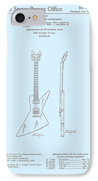Gibson Explorer  Patent 1958 IPhone Case by Georgia Fowler