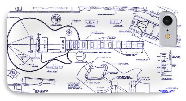 Gibson Les Paul Blueprint Drawing IPhone Case