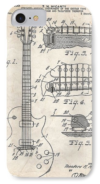 Gibson Les Paul Guitar Patent Art IPhone Case by Stephen Chambers
