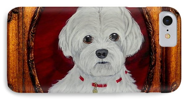 IPhone Case featuring the painting Gidget.my Maltese by Fram Cama