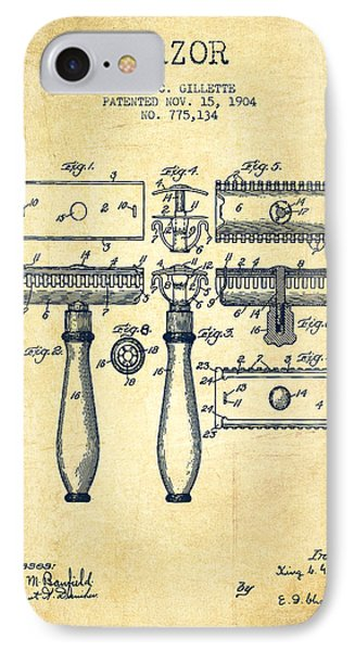 Gillette Razor Patent From 1904 - Vintage IPhone Case