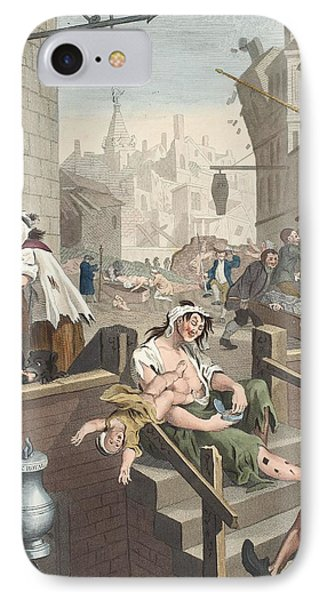 Gin Lane, Illustration From Hogarth Phone Case by William Hogarth