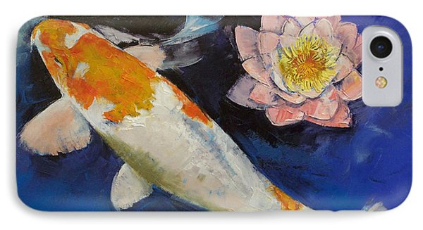 Gin Rin Koi And Water Lily IPhone Case by Michael Creese