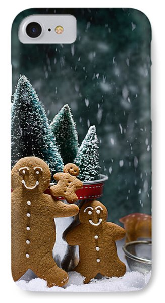 Gingerbread Family In Snow IPhone Case by Amanda Elwell