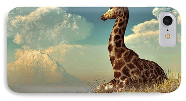 Giraffe And Distant Mountain IPhone Case