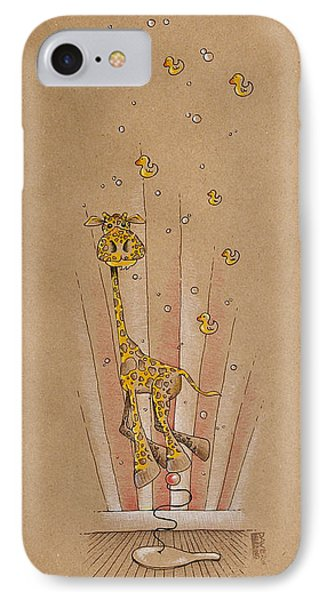 Giraffe And Rubber Duckies IPhone Case by David Breeding
