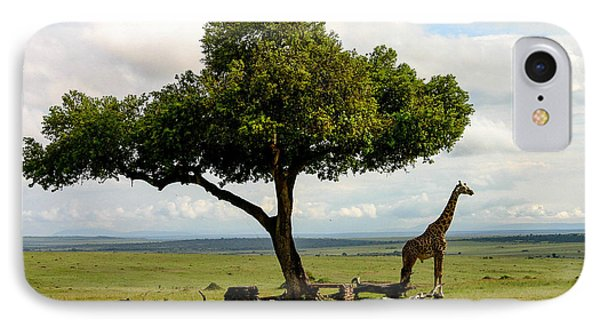 Giraffe And The Lonely Tree  IPhone Case by Menachem Ganon