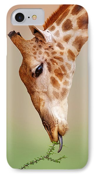 Giraffe Eating Close-up IPhone Case by Johan Swanepoel