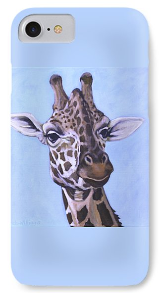 IPhone Case featuring the painting Giraffe Eye To Eye by Penny Birch-Williams