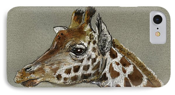 Giraffe Head Study Phone Case by Juan  Bosco