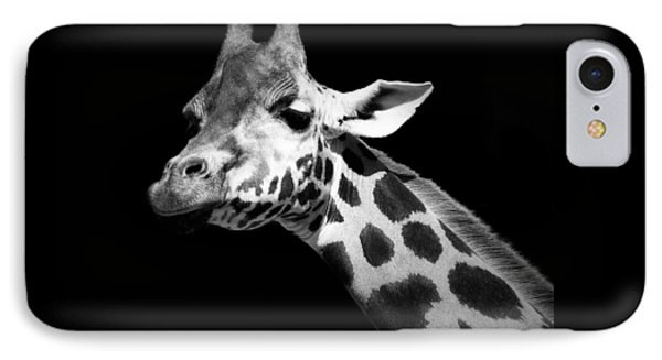 Portrait Of Giraffe In Black And White IPhone Case by Lukas Holas