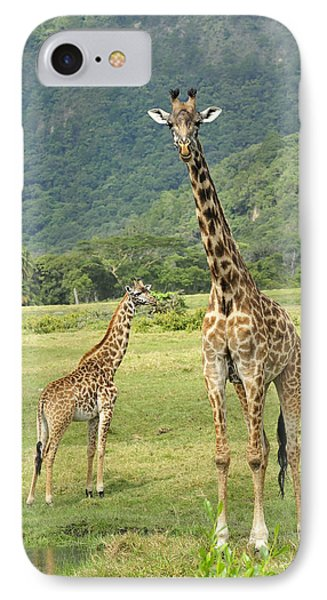 Giraffe Mother And Calftanzania IPhone Case by Thomas Marent