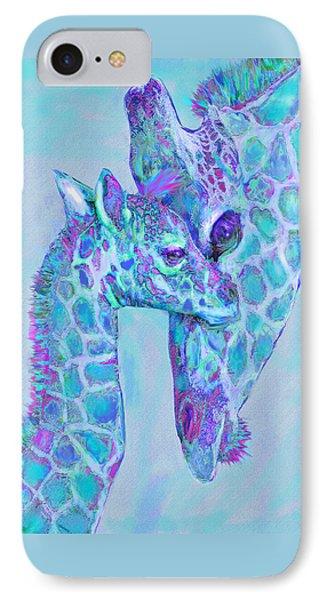 IPhone Case featuring the digital art Giraffe Shades  Purple And Aqua by Jane Schnetlage