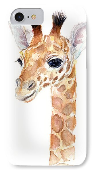 Giraffe Watercolor IPhone 7 Case by Olga Shvartsur