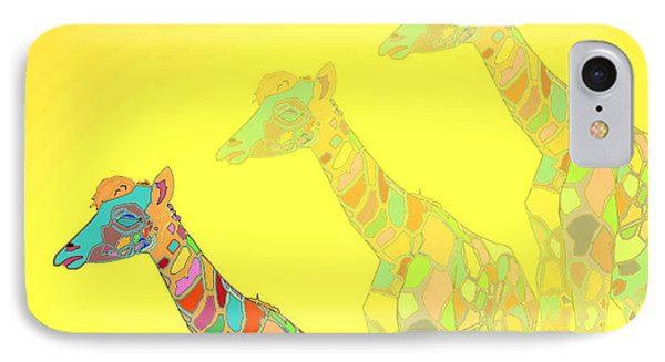 Giraffe X 3 - Yellow - The Card Phone Case by Joyce Dickens