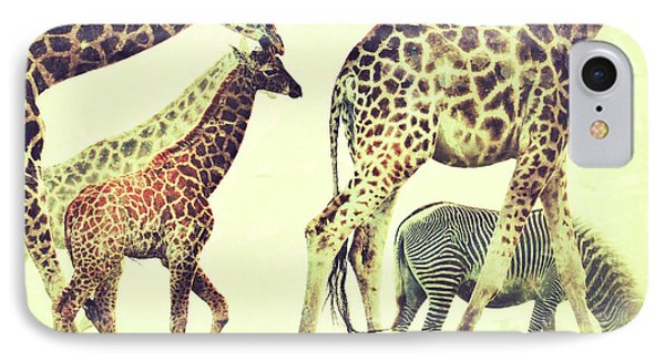 IPhone Case featuring the photograph Giraffes And A Zebra In The Mist by Nick  Biemans