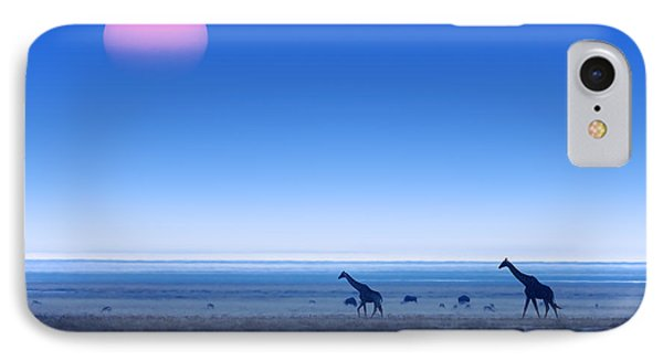 Giraffes On Salt Pans Of Etosha IPhone Case by Johan Swanepoel