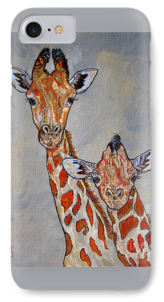 Giraffes - Standing Side By Side IPhone Case by Ella Kaye Dickey