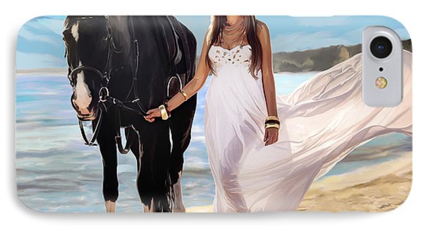 IPhone Case featuring the painting Girl And Horse On Beach by Tim Gilliland