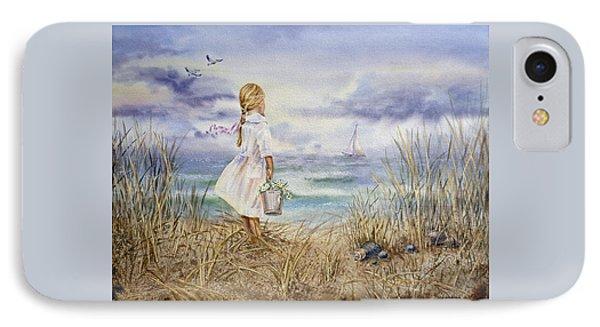 Girl At The Ocean IPhone Case by Irina Sztukowski