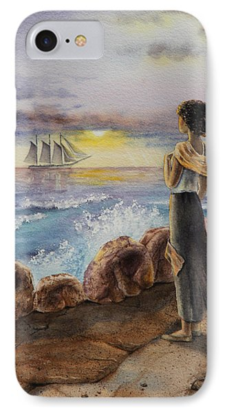 Girl And The Ocean Sailing Ship IPhone Case