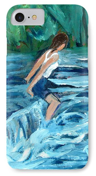 Girl Bathing In River Rapids IPhone Case by Betty Pieper