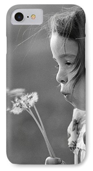 Girl Blowing On Dandelion C.1970s IPhone Case