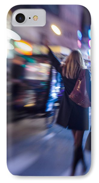 Girl Catching A Taxi In Manhattan IPhone Case