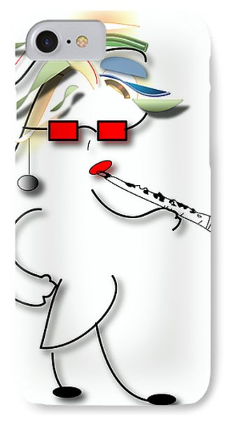 IPhone Case featuring the digital art Girl Clarinet Player by Marvin Blaine