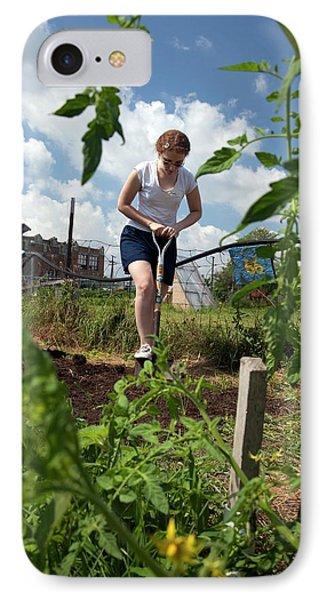Girl Digging In A Garden IPhone Case